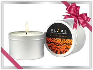 Relaxing Blood Orange Scented Massage Candle from Flame